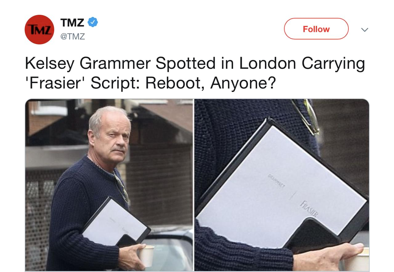 Kelsey Grammar seen carrying Frasier script