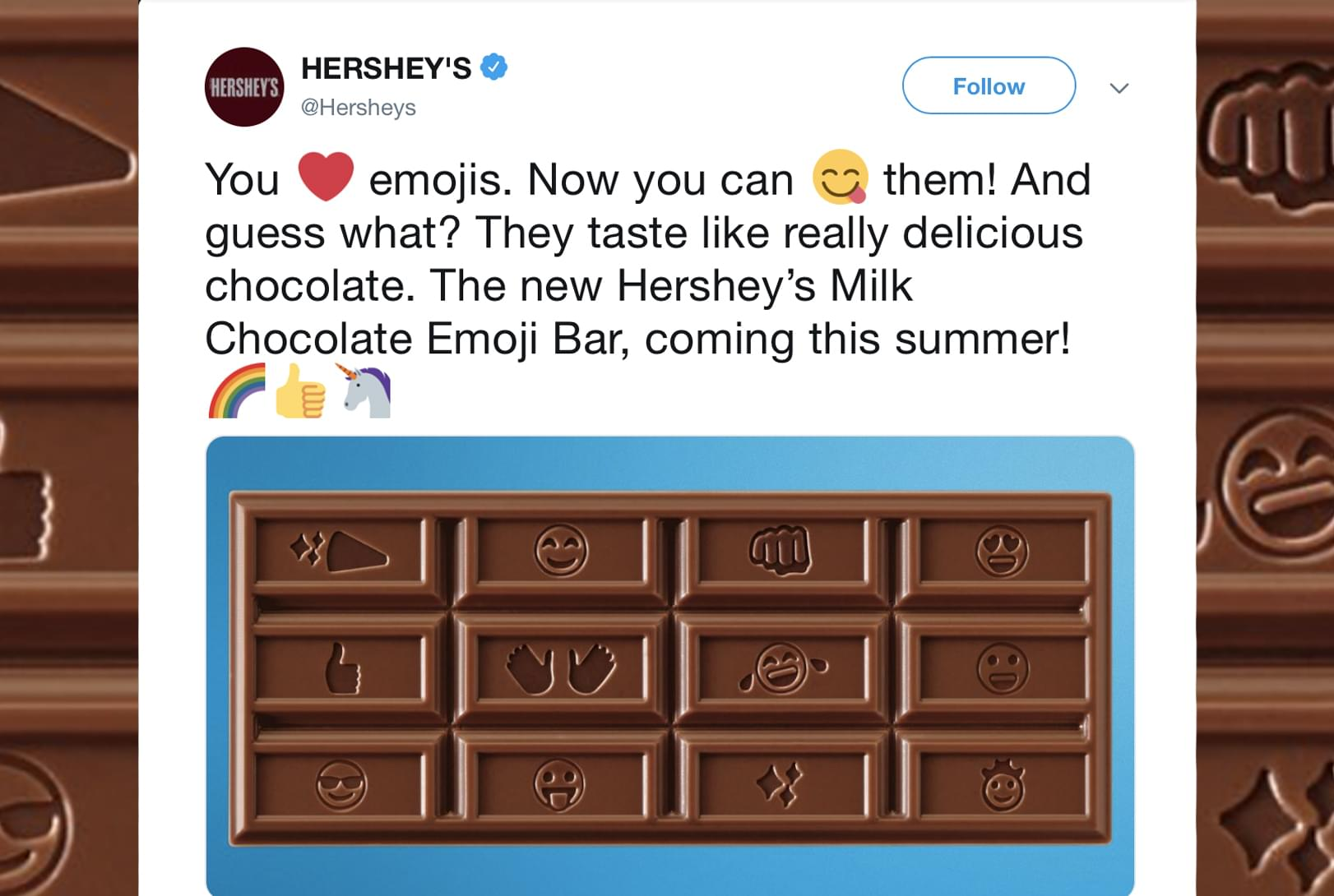 Hershey's just redesigned their chocolate bars for the first time in 125 years… to add emojis