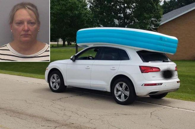 Reckless mother arrested after her kids were on top of her car in an inflatable pool