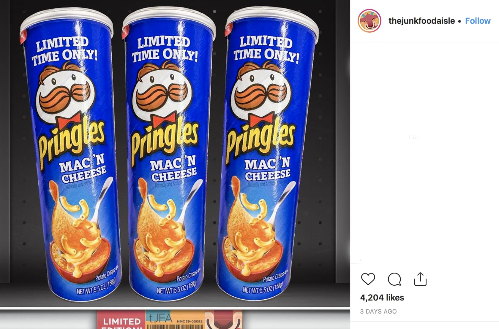 Pringles newest flavor: Mac & Cheese!