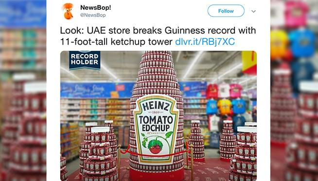 Store breaks Guinness World Record with 11-foot-tall ketchup tower