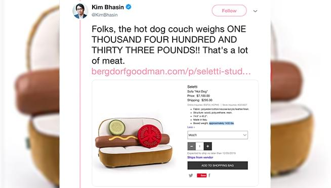 Neiman Marcus selling $7,100 Chicago Style Hot Dog COUCH