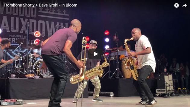 "Dave Grohl Plays ""In Bloom"" With Trombone Shorty"