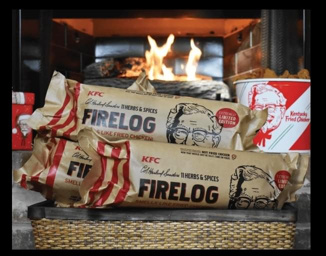 Burning This Yule Log Is Going To Make You VERY Hungry For KFC Chicken