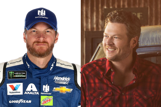 dale earnhardt jr gets special delivery from blake shelton b104