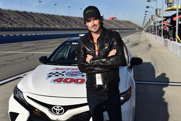 FONTANA, CA - MARCH 18:  Actor Ian Somerhalder poses for a photo by the pace car prior to the Monster Energy NASCAR Cup Series Auto Club 400 at Auto Club Speedway on March 18, 2018 in Fontana, California.  (Photo courtesy of NASCARmedia.com/by Jonathan Moore/Getty Images)
