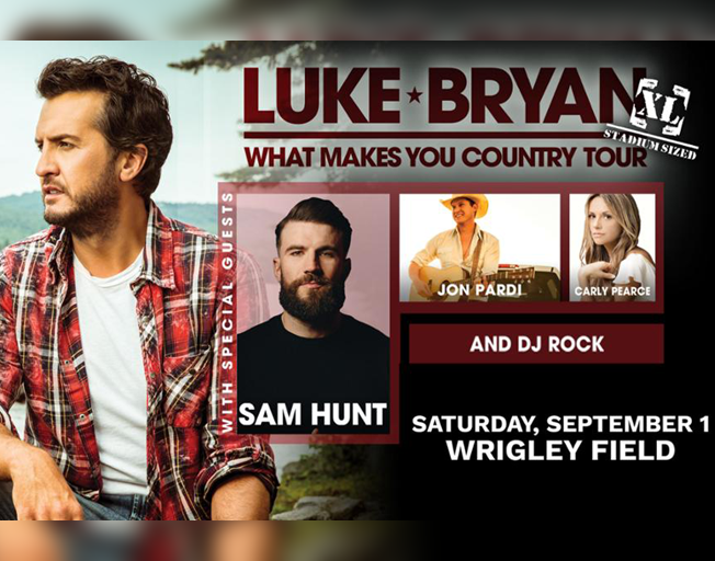 "Luke Bryan ""What Makes You Country XL Tour"" with special guests Sam Hunt, Jon Pardi, Carly Pearce and DJ Rock at Wrigley Field Saturday, September 1, 2018."