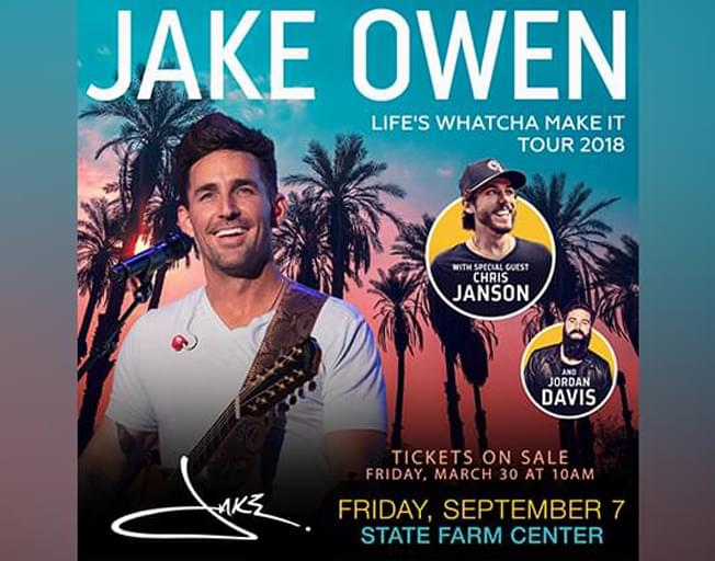 Win Tickets To Jake Owen At The State Farm Center