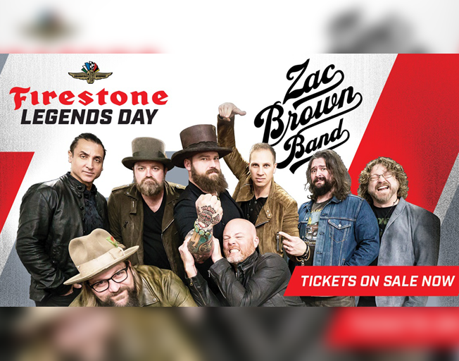 Three-time Grammy Award-winning Zac Brown Band To Headline Firestone Legends Day Concert on Saturday, May 25th at Indianapolis Motor Speedway