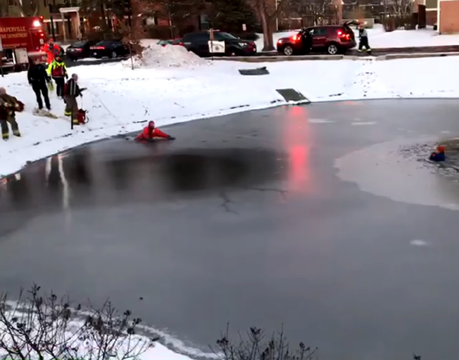 Naperville Fire & Police Rescue Boy from Frozen Pond [VIDEO]