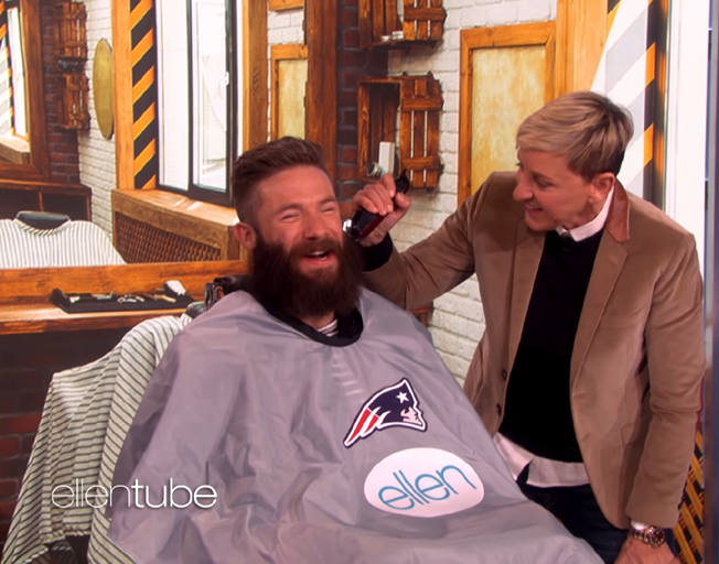 Super Bowl MVP Julian Edelman lets Ellen Shave His Beard for Charity [VIDEO]