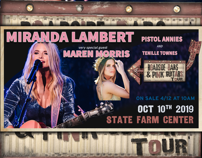 Miranda Lambert Brings Roadside Bars & Pink Guitars Tour To Champaign With Maren Morris