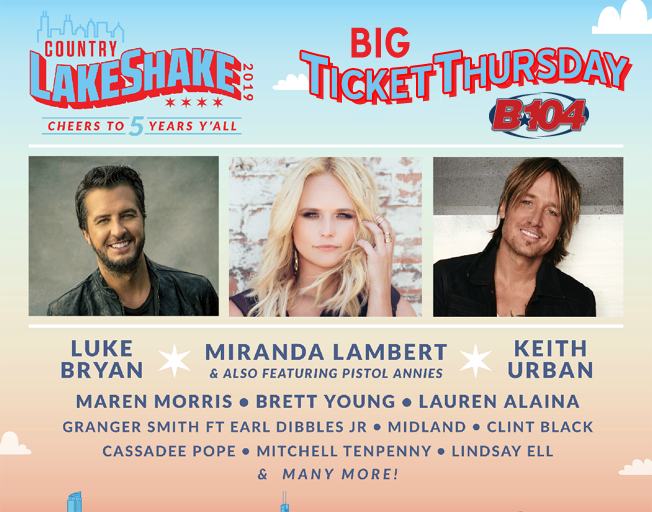 Win Country LakeShake Passes ALL DAY Thursday with B104