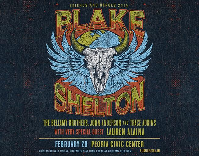 """93.7 NASH Icon is proud to Welcome Blake Shelton's """"Friends and Heroes 2019 Tour"""" to the Peoria Civic Center!"""