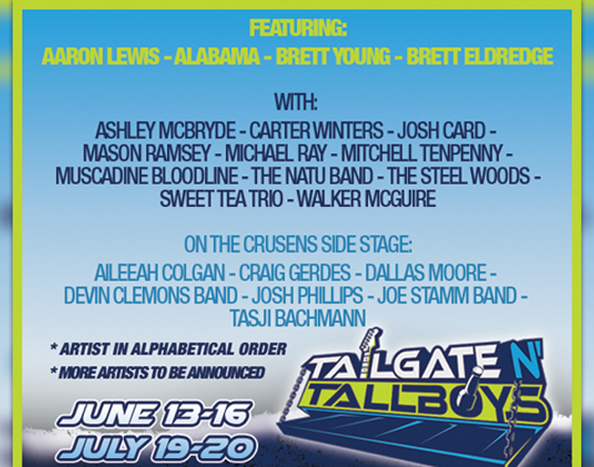 2019 Tailgate N' Tallboys Artists Announced