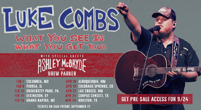"""Luke Combs 2020 """"What You See Is What you Get Tour"""""""