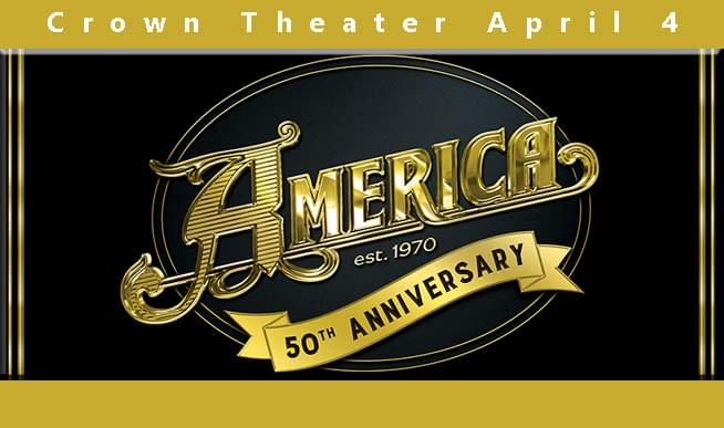 "Iconic classic-rock favorite AMERICA  will be performing live at the Crown Theatre on Thursday, April 4 as a part of Community Concerts' 83rd season!  AMERICA has amassed six certified gold and/or platinum albums, with their first greatest hits collection, ""History,"" hitting four million plus in sales.     The Grammy Award winners' widely renowned singles--including ""Horse With No Name,"" ""Sister Golden Hair,"" ""I Need You,' ""Ventura Highway,"" ""Don't Cross the River,"" ""Tin Man,"" and ""Lonely People""--were considered cornerstones of the 1970's Top 40 and FM rock radio.     AMERICA has gained 1.4 Million plus monthly listeners on Spotify, with eight songs receiving over two million streams. This includes: ""A Horse with No Name"" (42 Million+ streams), ""Sister Golden Hair"" (11 Million+ streams) and ""Ventura Highway"" (10 Million+ streams).     AMERICA--lead singers, songwriters and guitarists Gerry Beckley and Dewey Bunnell--continues to be a band capable of transcending borders with their uplifting music and positive message. Embracing a rainbow on divergent cultures, AMERICA's audience continues to grow, comprising a loyal legion of first, second and third generation fans, all bearing testament to the group's enduring appeal."