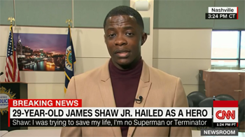 (CNN)Just hours after he pried a rifle from a gunman who'd opened fire at a Waffle House in Tennessee, James Shaw Jr. launched a fundraiser to help the victims' families.  That GoFundMe campaign by early Thursday had raked in more than $150,000 -- more than 10 times its goal -- since the attack Sunday left four people dead. Meantime, the Antioch, Tennessee restaurant has pledged to donate all its proceeds for the next month to the families of living and deceased victims of the attack.