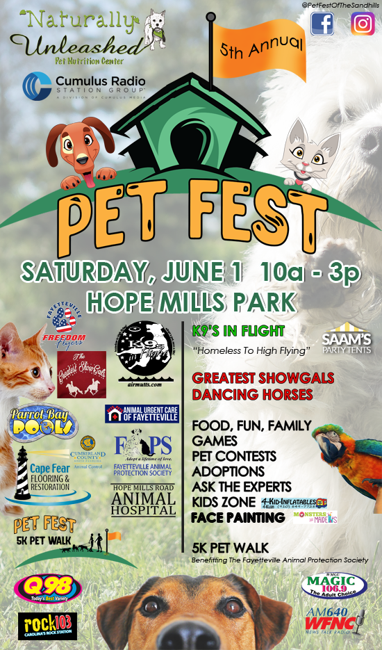 We are so excited to share another amazing day with you! June 1st at Hope Mills Park! Get registered for the Pet Walk and hang with us until 3pm!  With so much to see and do, you won't want to miss it!