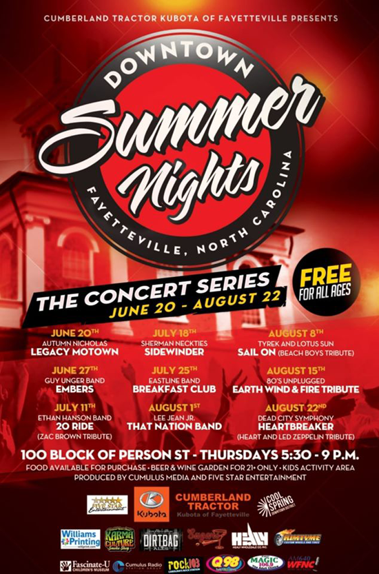 Downtown Summer Nights presented by Cumberland Tractor Kubota of Fayetteville is the All NEW 9 week concert series produced by Cumulus Media and Five Star Entertainment for the Cool Spring Downtown District to be held on the 100 block of Person Street each Thursday evening, June 20 – August 22, 2019. This is an all ages, FREE event. Each night will kick off with one of Fayetteville's premier local bands and headlined by regional Tribute bands performing on the Rimtyme Downtown Ramsey Stage. Music begins at 6:00p and ends at 9:00pm. A diverse lineup of music will be programmed each week and hosted by one of Cumulus' radio stations Q98, Rock 103, Magic 106.9 or News Talk 640 WFNC on air personalities.  Food will be available for purchase at area restaurants and food trucks set up on Persons Street. A 21+ restricted area in close proximity to the stage. Beer & wine garden presented by Healy Wholesale and Dirt Bag Ale. A Kids activity area with kids activities by Fascinate-U Children's Museum, vendors and misting stations sponsored by Karma Culture will be setup at various locations along the street.