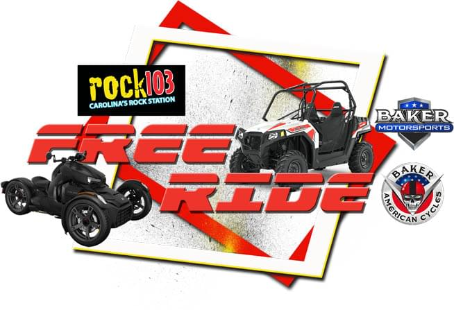 This year, the Rock 103 Free Ride, is up to you. One lucky listener will be riding home with their choice of either a 2019 Polaris Razor 570 OR a 2019 Can-Am Ryker 900!  All sponsored by Baker American Cycles and Baker Motorsports!