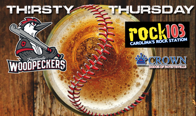 Listen for your chance to win Woodpeckers tickets all week!  You might even get to throw out the first pitch!  Then join us for Thirsty Thursday at Segra Stadium!  Fans 21 or older can purchase $3 domestic beers! Also available will be $2 Pepsi products! Following the game, enjoy live music at Healy's right field bar!