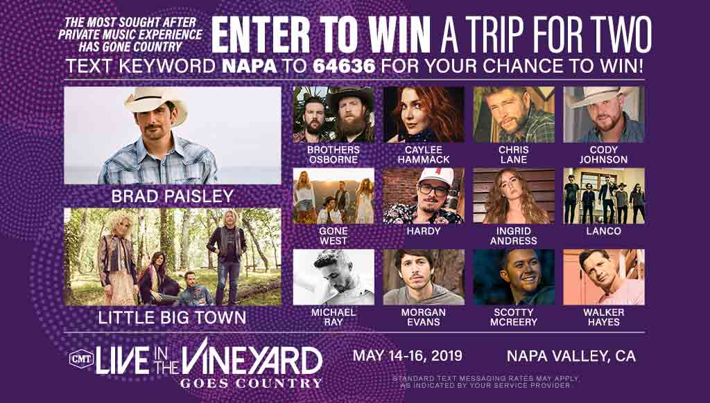 Text to win a trip to Live In The Vineyard