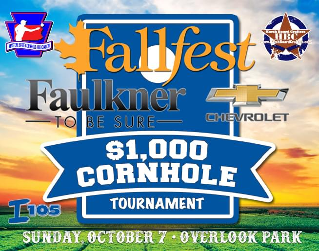Compete in the Faulkner Chevrolet $1,000 Cornhole Tournament at Fallfest