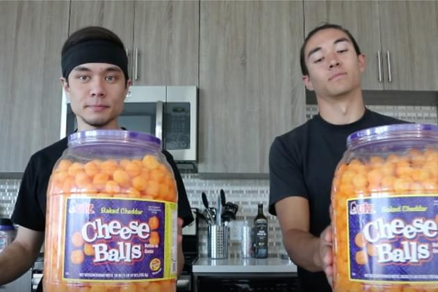 Watch Matt Stonie and His Friend Take On the Double Cheese Ball Barrel Challenge [VIDEO]