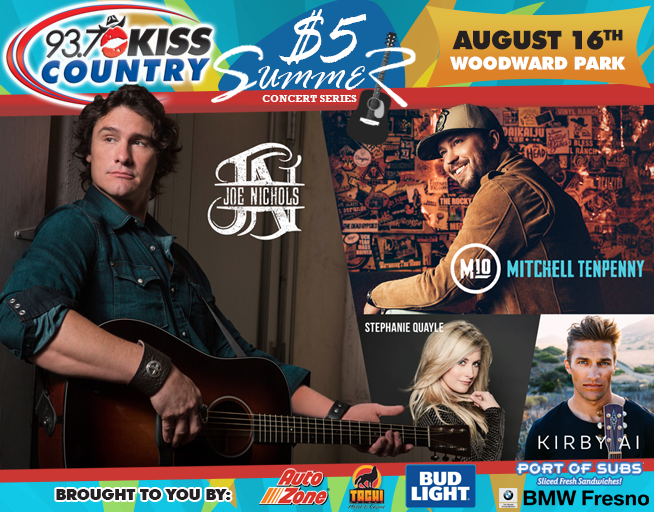 August 16: Fourth Kiss Country $5 Summer Concert 2018