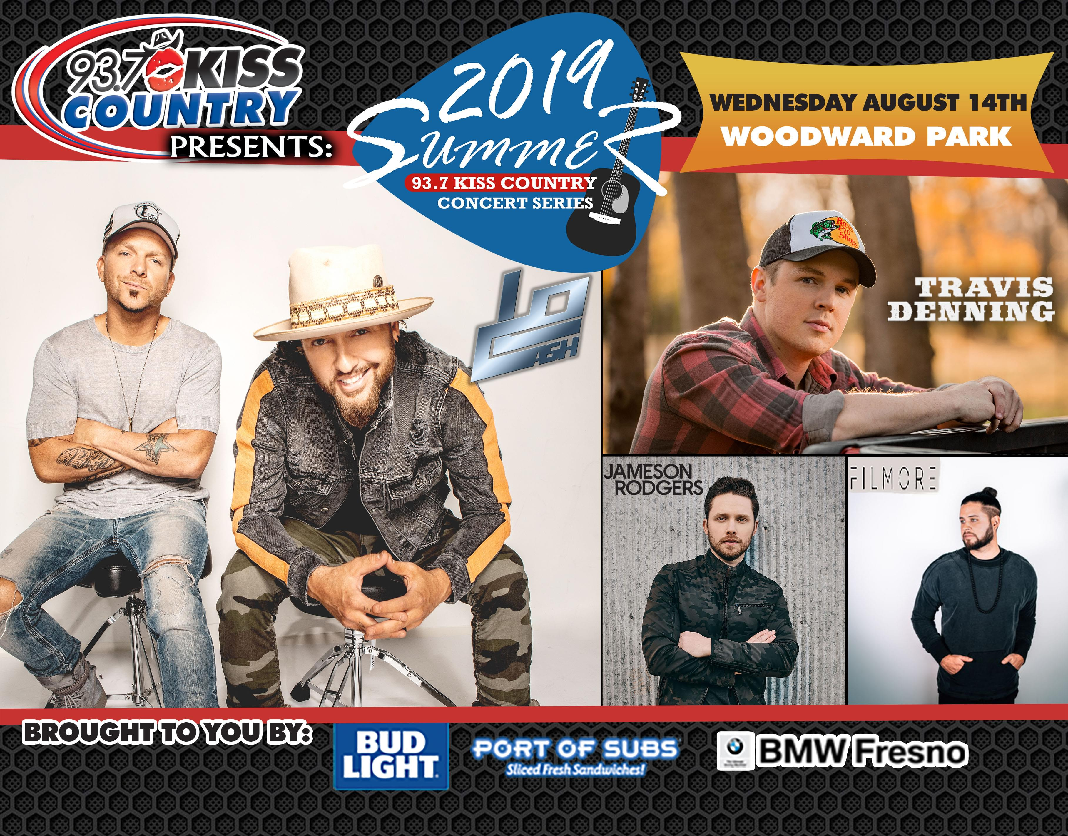 August 14:  Fourth Kiss Country Summer Concert of 2019