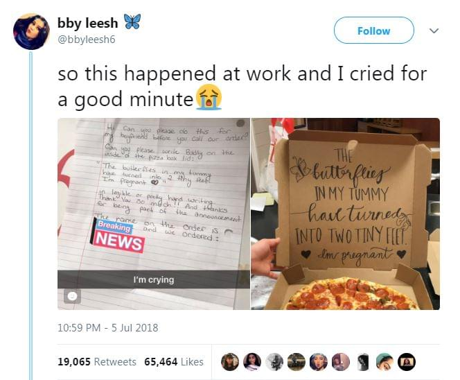 Pizza Delivery Team Delivers Yummy Pizza And Good News To Expecting Parents