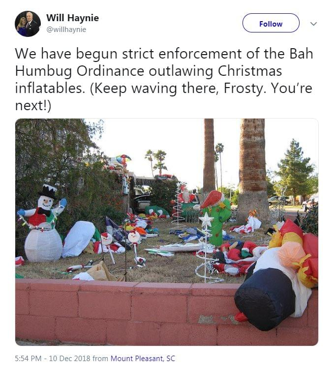 Bah Humbug Ordinance Banning Christmas Inflatables In Mount Pleasant?