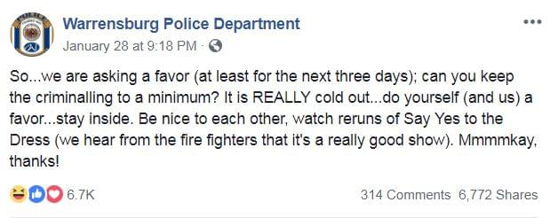 A Police Station Is Asking Criminals To Take A Break Until The Weather Warms Up