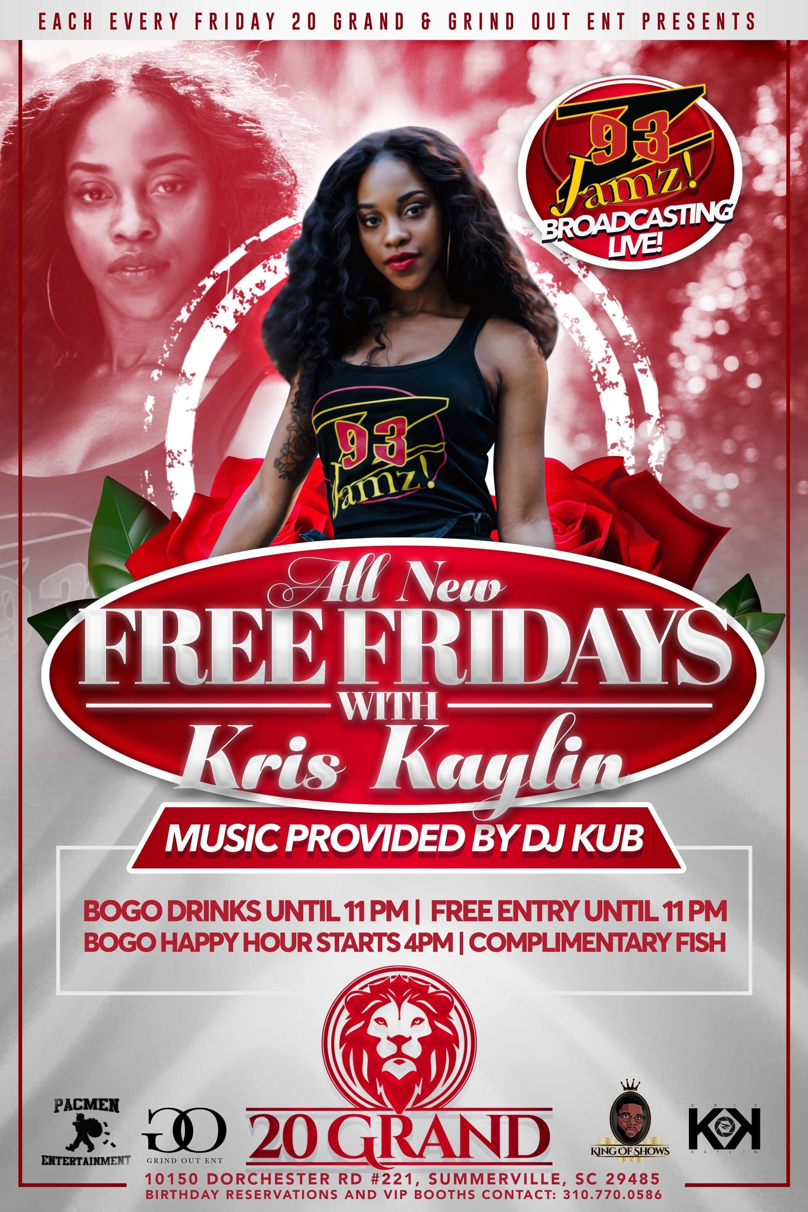 Z93 JAMZ IS BROADCASTING LIVE FROM 20 GRAND BAR LOUNGE EVERY FRIDAY NIGHT JOIN KRISKAYLIN 10PM TO 12MIDNIGHTMUSIC BY DJ KUB