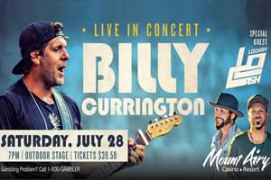 Cat Country 96 Welcomes Billy Currington to Mount Airy Casino Resort