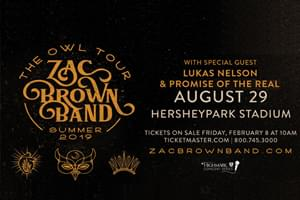 Cat Country 96 Welcomes the Zac Brown Band to Hersheypark Stadium