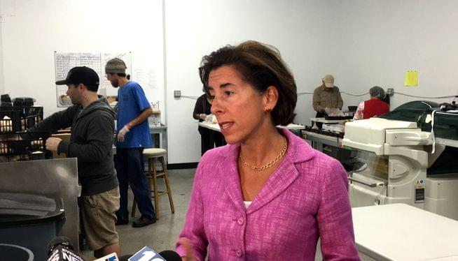 At a mushroom farm, Raimondo launches general election campaign