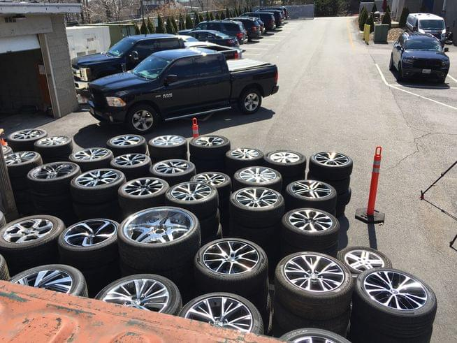 Responding to a fire alarm, authorities find suspected stolen tires