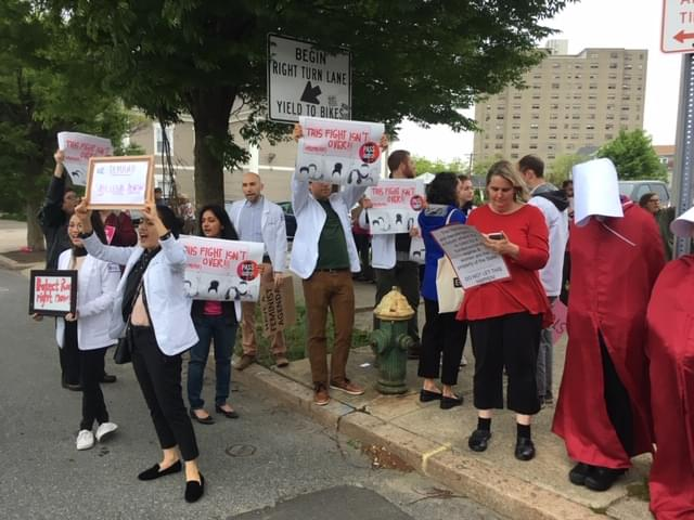 Abortion rights rally held outside RI Democratic fundraiser