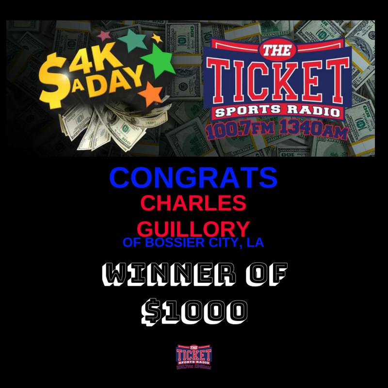 Congratulations to Charlese Guillory of Bossier City! He won $1000 in our 4K A Day Contest