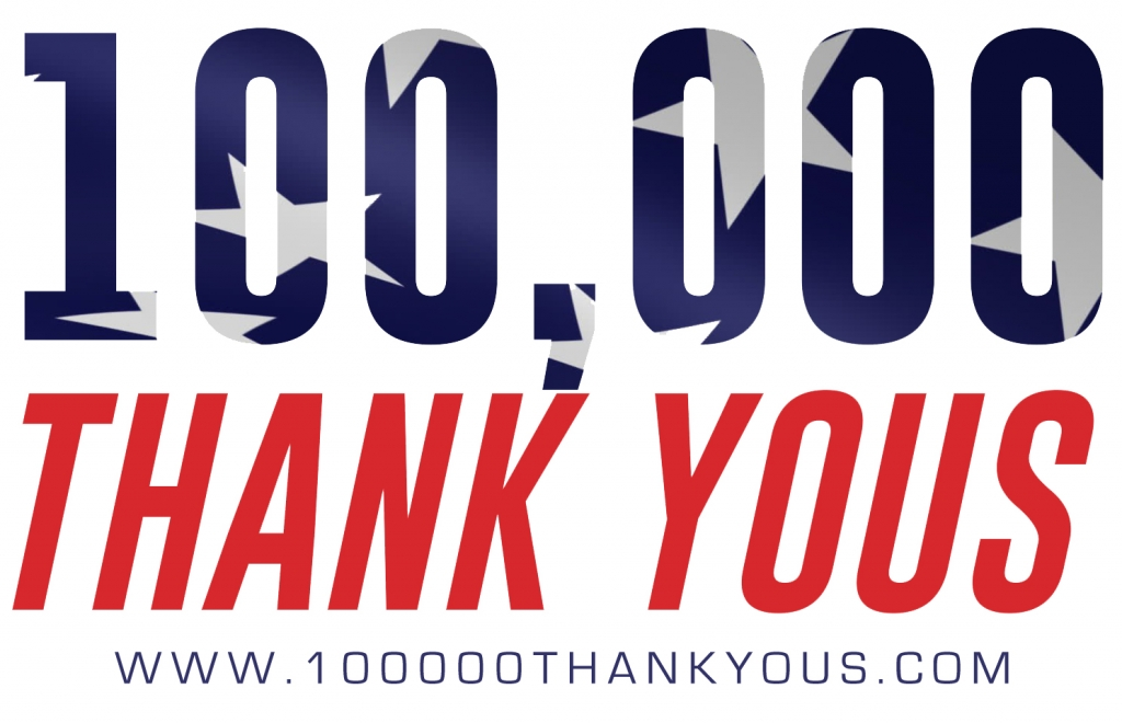 """2nd Annual """"100,000 Thank Yous!"""" 