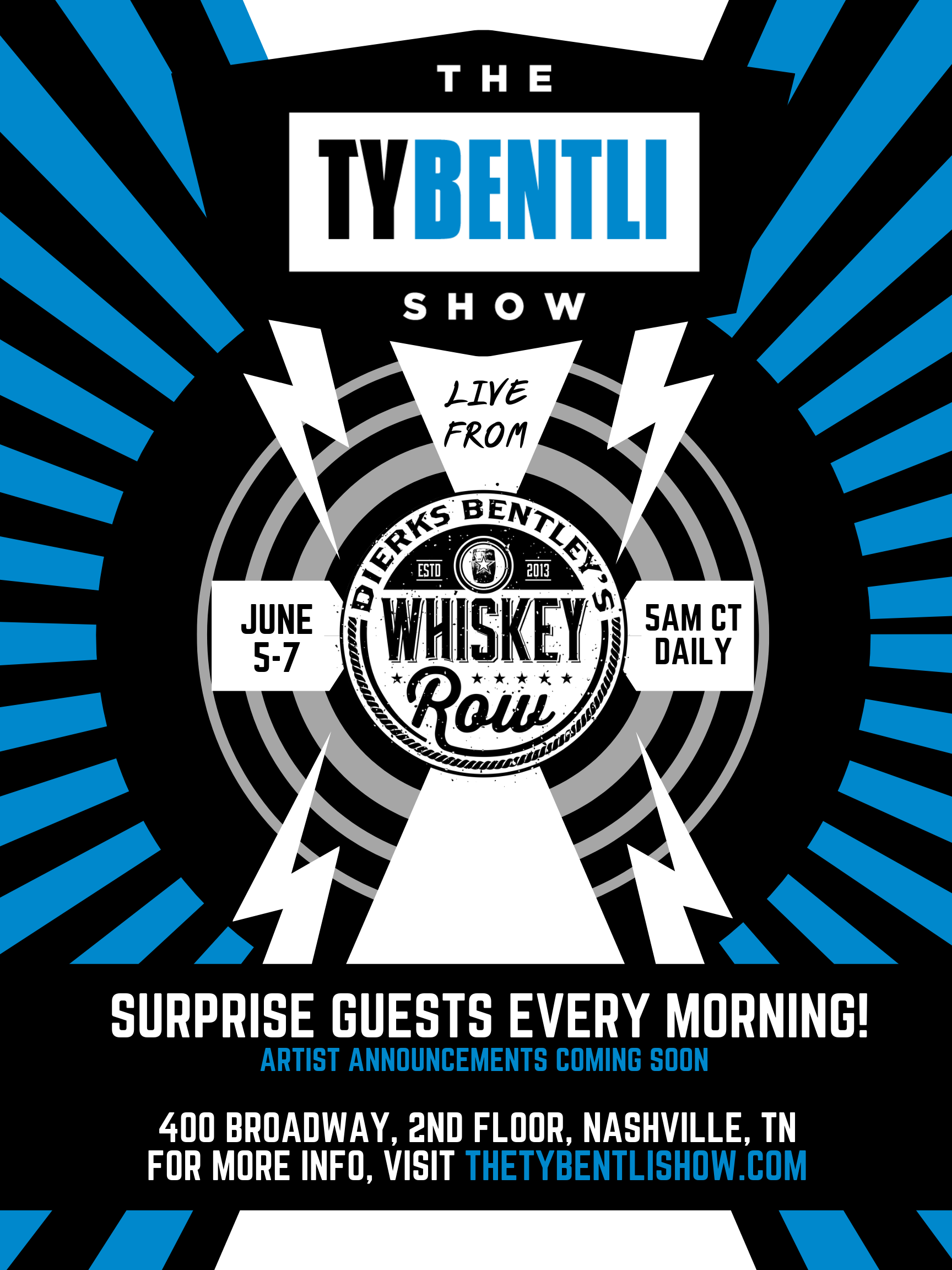 """UPDATED: Join """"The Ty Bentli Show"""" at Dierks Bentley's Whiskey Row for CMA Fest 2019"""