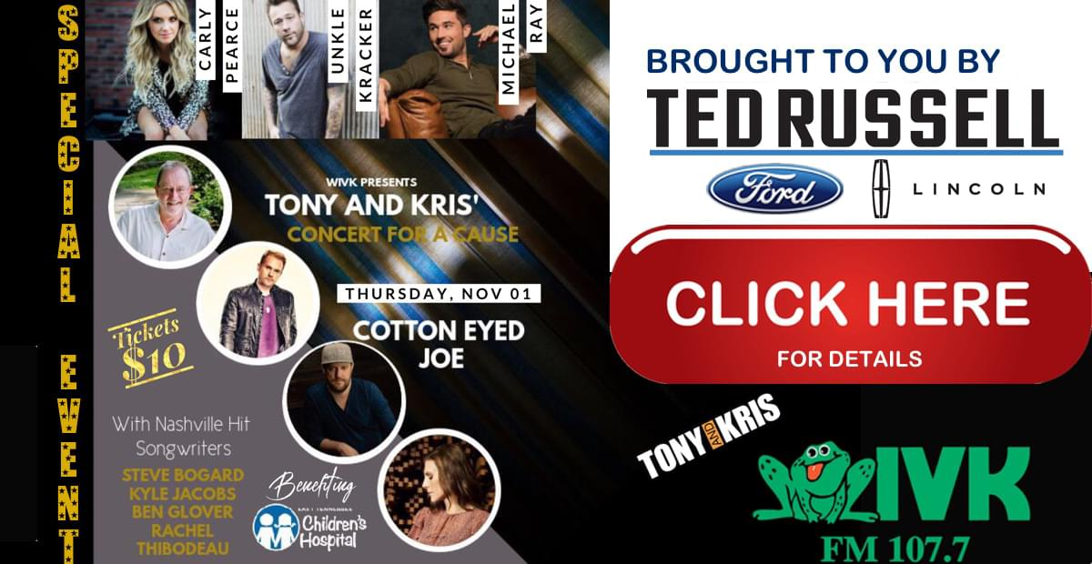 November 1 – Tony & Kris' Concert for a Cause at Cotton Eyed Joe