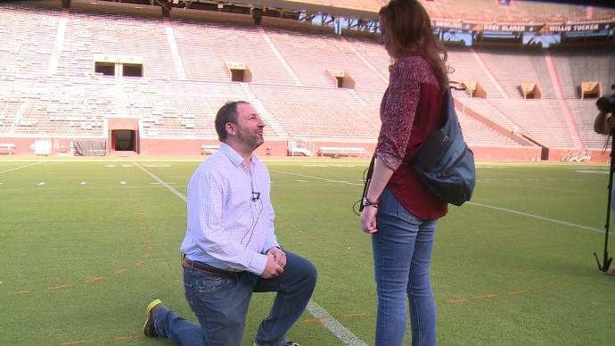 Tony And Kris Pulled Off A Surprise Proposal At Neyland Stadium