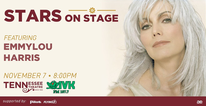 November 7 – Emmylou Harris at Tennessee Theatre's Stars on Stage Gala