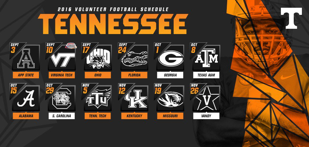 2016 Vols Football Schedule Released 9 Games In State Of Tn Wnml Af
