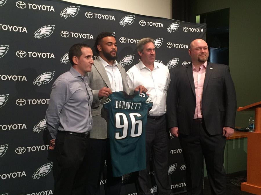 cheap for discount 49e4c 0c3bf Eagles Introduce Derek Barnett | WIVK-FM