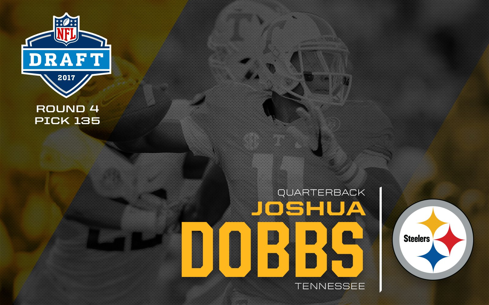 d59388acfa1 Josh Dobbs drafted by the Steelers in 4th Rd, #135 overall
