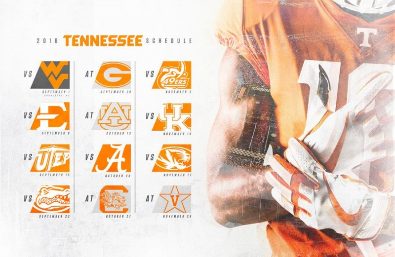 2018 TENNESSEE FOOTBALL SCHEDULE